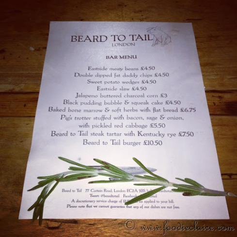Beard to Tail Bar Menu