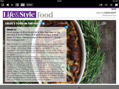 Recipe for Chloe Scott's Toad in the Hole Recipe from Metro Newspaper