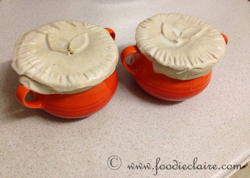 chicken and mushroom pot pies pre-oven