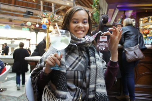 bombay sapphire gin and tonic at tobacco dock vip bar