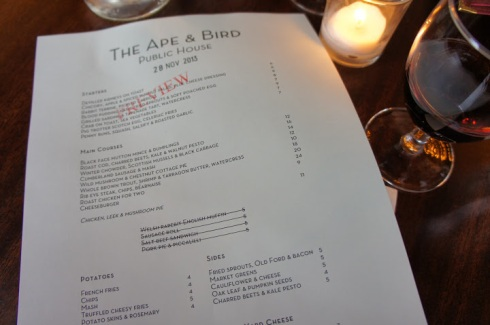 the ape and bird preview menu