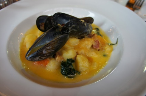 winter chowder scottish mussels and black cabbage
