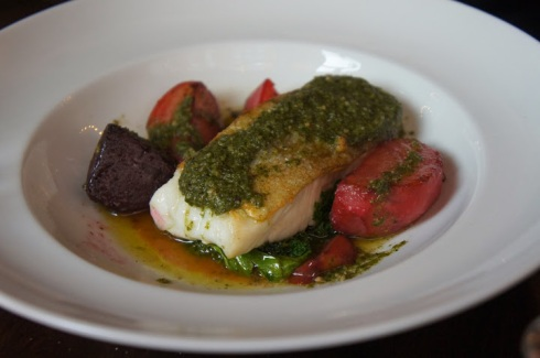 roast cod charred beets kale and walnut pesto