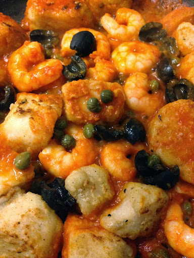 cod and prawns with capers and black olives