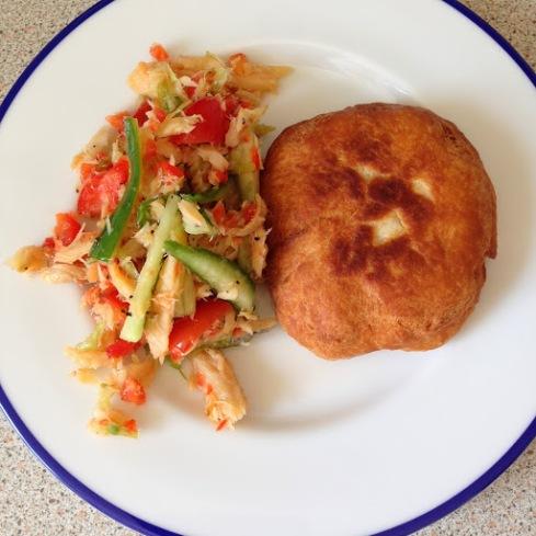 buljol and fried dumplings breakfast