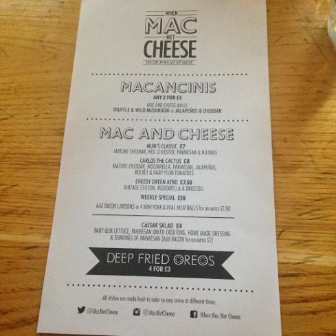 When Mac Met Cheese Menu