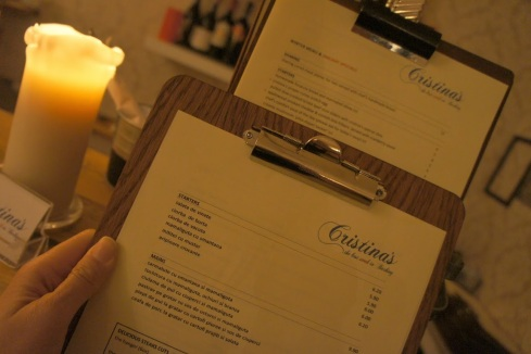 Cristina's has both an English and Romanian menu for diners