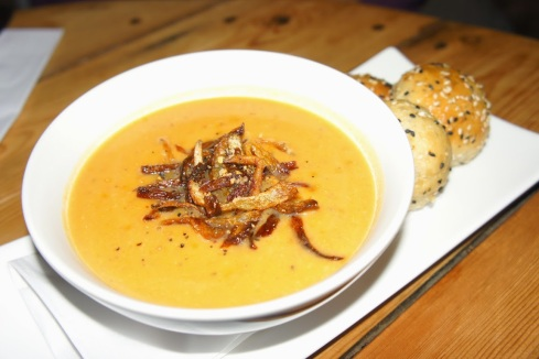 Chef's Comfort Soup of the Day - Butternut Squash spicy soup