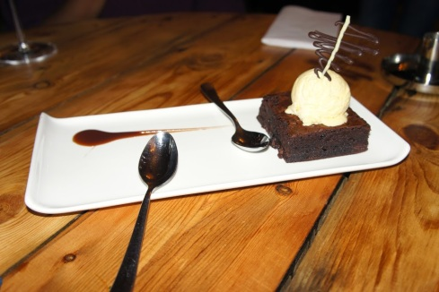 Ultimate chocolate brownie and vanilla ice cream