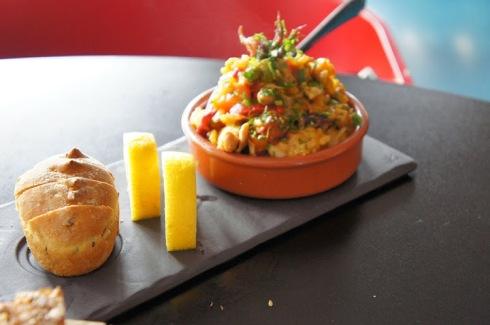 Paella of chorizo, chicken & baby squid