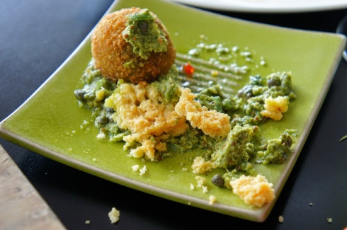 Pea, mint & blue cheese risotto balls | Salsa verdi, cracked parmesan