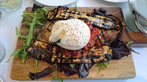 burata and aubergine antipasti
